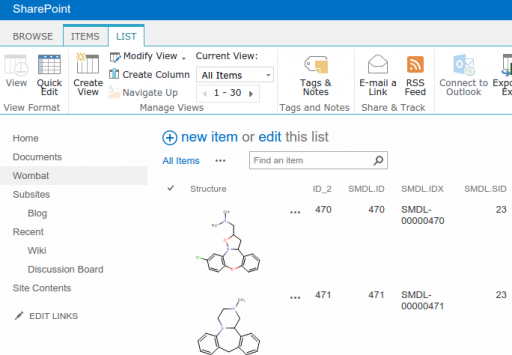 Managing chemical structures in SharePoint lists with JChem for SharePoint