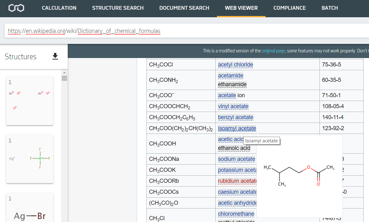 Web Viewer in Chemicalize