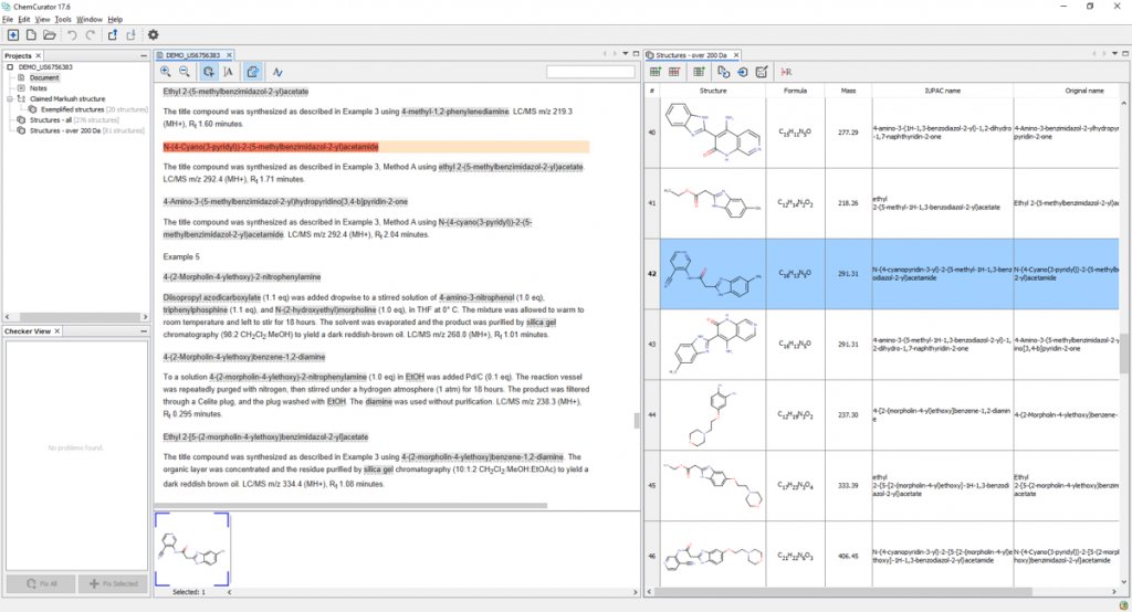 ChemCurator's view to extract compounds from text