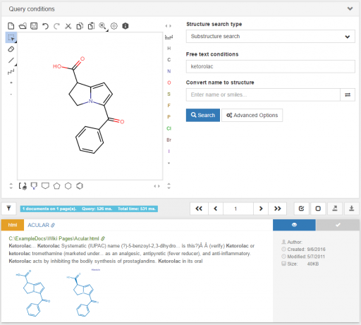 Result view of a combined chemical and free text search query in ChemLocator