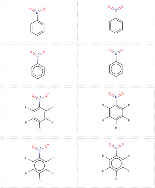 Different representations of nitrobenzene